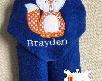 Personalized Fox Hooded Towel Appliqué Embroidred Woodland Animals Boy Girl