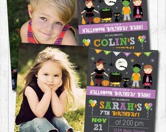 Halloween Birthday Invitation, Halloween Invite, Halloween party, Photo invitation, Digital Printable Invitation