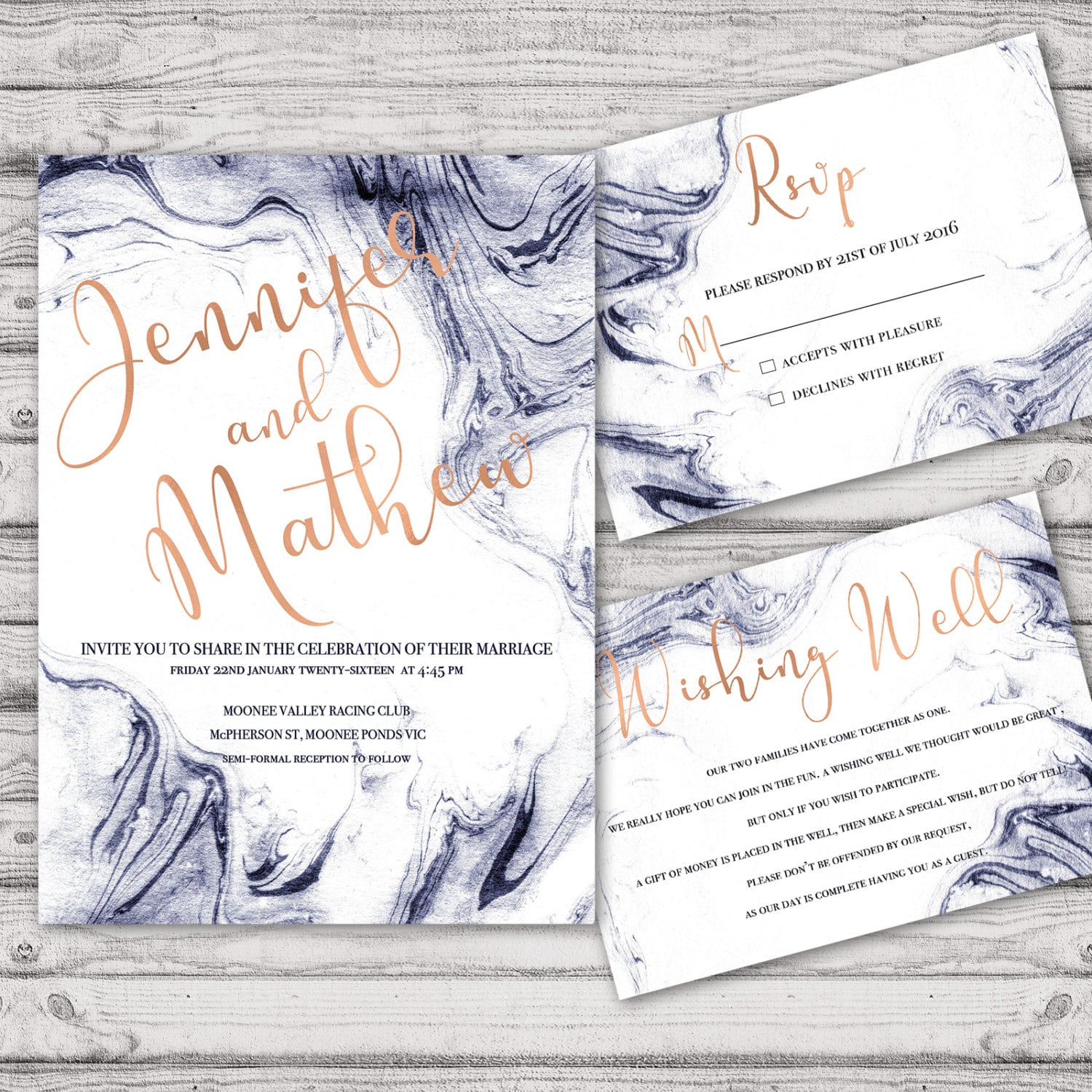 Marble wedding invitation suite print at home files or printed marble wedding invitation suite print at home files or printed invitations marble navy rose gold personalised wedding invite suite stopboris Gallery