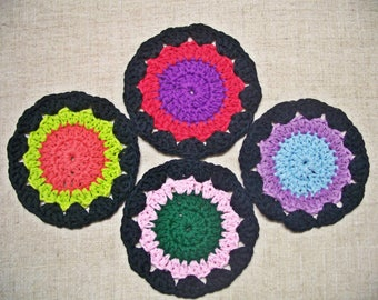 CLEARANCE SALE - Black & Multicolor Crocheted Cotton Coasters, You Choose Set of 4 or 8, Mug Rug, Mat, For the Kitchen
