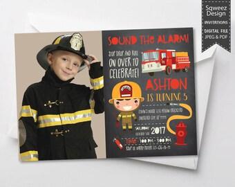 Firefighter Invitation, Fireman Birthday Party, Firefighter Party Invitation, Fireman Invitation, Chalkboard - JPEG & PDF File