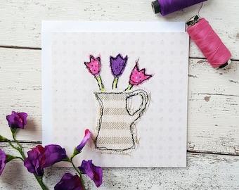 Jug of Tulips Square Printed Greetings Card