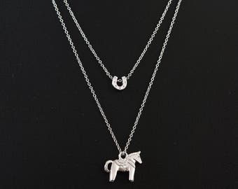 Silver Swedish Dala Horse Layered Necklace, Silver Horse and Horseshoe Double Necklace, Swedish Horse, Fine Silver Chain Necklace