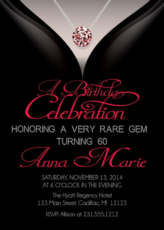 60th Birthday Invitations Adult Birthday Invitation