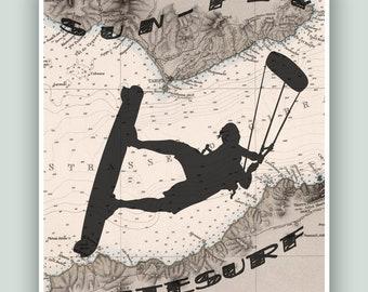 Kitesurf art, Tarifa Kitesurfing, Gibraltar Map Art, SUN-FLY-WINDSURF, Adventure poster, Gift for woman kitesurfer, Kitesurfing print