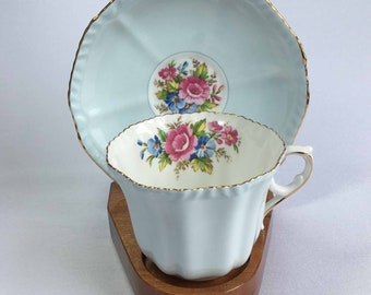 Royal Grafton by A.B.Jones Un-named 2052 Light Blue with Flower Center Bone China Cup and Saucer