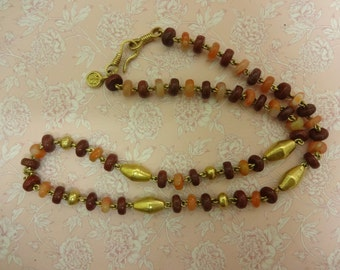 Vintage Gemstone Necklace, Brown Bead Necklace, Boho Necklace, Festival Necklace, Gold Bead Necklace, Gold Plated Necklace