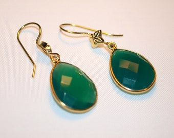 Green chalcedony dangle earrings with decorative hook. Gold palted on sterling silver