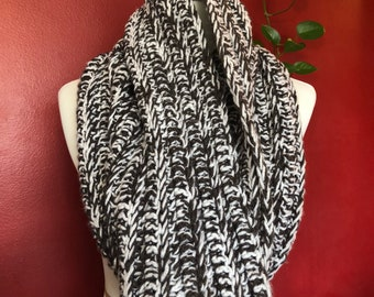 Charcoal and White Integrated Crochet Infinity Scarf