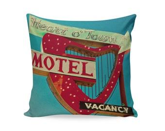 Heart o' Town Neon Sign Pillow Cover | 50s Decor | Mid Century Pillow | Valentines Day Decor | Glamping Reno Decor | Travel Trailer Decor