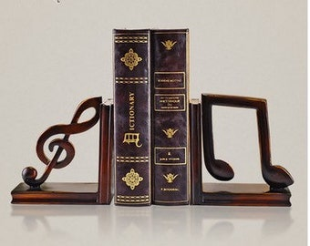 Musical Notes Wooden Nursery Bookends / Book stands / Book holders -  Birthday / Baby Shower Gift