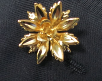 Gold Plated Metal FLower  Boutonniere With 2 Inch Gold Stick Lapel Pin