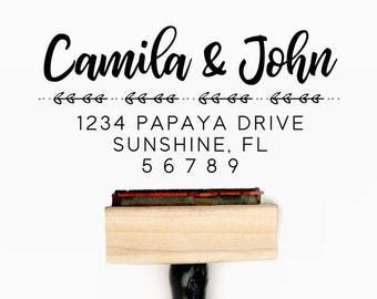 Custom Personalized Return Address Pre-Designed Rubber Stamp - Branding, Packaging, Invitations, Party, Wedding Favors - A008