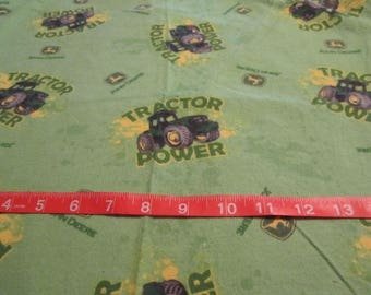 16 x 22 Inches Green John Deere Tractor Flannel Fabric Remnant