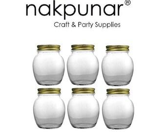 Nakpunar 12 oz Globe Glass Jar with Gold Metal Lid- 6 pcs