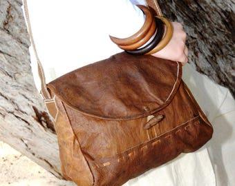 Raw Organic Buffalo Leather bag - 'PLOUZANE'