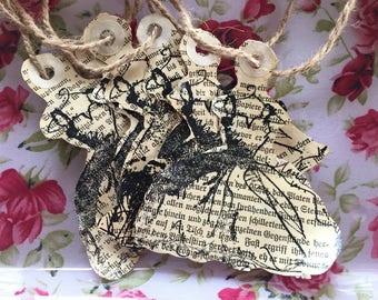 Gift Tags Vintage Dress Tea/Coffee Stained German Book Pages Premade Party Favor Bag Wedding Shower Bridesmaids Gift Sweet Vintage Designs