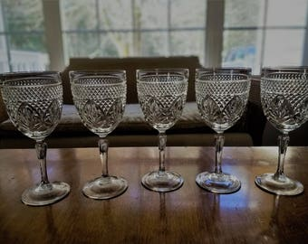 Cut glass wine goblets