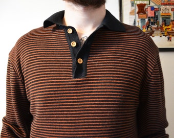SALE - 1980s Striped Collared Men's Shirt Long Sleeve