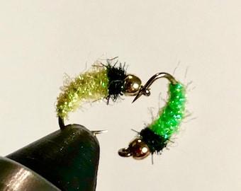Six (6) Sparkle Caddis - Bead Head Caddis Fly - Caddis Larvae Fly - Fly Fishing Fly - Trout Fly - Caddis Nymph