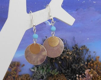 Earrings, gold, silver and Blue Pearl