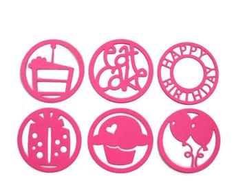 Birthday Themed Die Cuts Set of 24 (4 of each design)