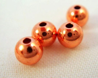50 Copper Beads 3mm Smooth Round Bead - 50 pc - 3392-8