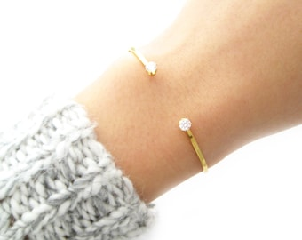 SALE - Two Stone Open Cuff Bracelet - 2002