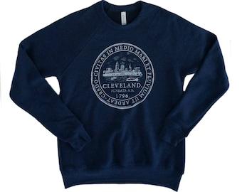 Unisex Cleveland 'City Seal' Navy Fleece Crew Sweatshirt