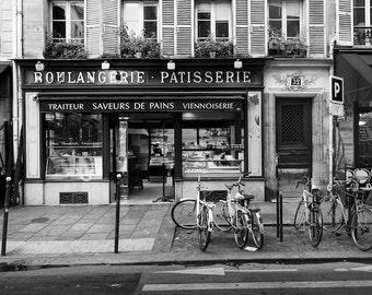 Paris black and white photography, Paris boulangerie, Paris photography, black and white photo, Paris bakery, shopfront, patisserie