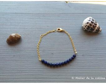 Lapis Lazuli and gold chain bracelet