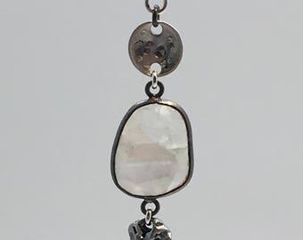 Moonstone necklace - Meteorite necklace - June birthstone - moonstone pendant - gemstone necklace - June birthstone gift - moonstone