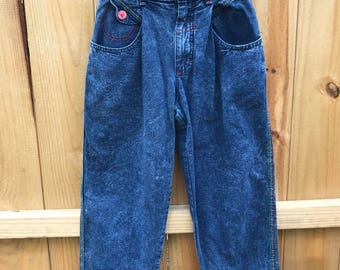 Vintage Girls Size 10 Acid Wash Lee Jeans / Girl's 80s 90s Acid Wash Jeans with Rainbow Stitching by Lee Size 10