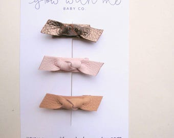 Tiny Knot Leather Bow Set | Toddler Hair Bow | Leather Snap Clips | Baby Snap Clips | Infant Hair Bow | Tiny Hair Bow | Bows For Infants