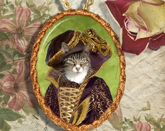 Tabby Cat Jewelry Pendant Necklace - Brooch Handcrafted Ceramic