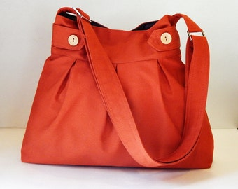 Sale - Burnt orange canvas bag - Messenger / Diaper bag / Tote / Handbag / Shoulder bag / Women / Crossbody - ARROWS