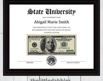 Printable Fake Diploma Emergency Money Graduation Gift -- Custom Diploma Frame Money Graduation Gift -- PDF