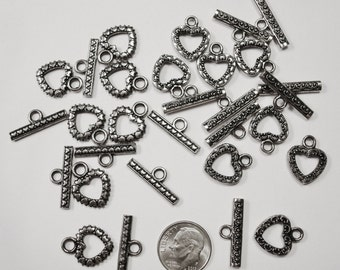 15 sets Antique Silver Plated Metal Heart Toggle Clasps 2 Victorian Styles in each lot  FPC099