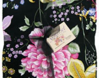"SOMERSET LAYER CAKE - Quilt Fabric, Benartex, E. Vive, Pre-Cuts, Flowers, 40 Pieces Per Pkg, 10"" Layer Cake, Stripes, Tone On Tone, Black"