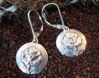 Sterling Silver Rose Drop Earring