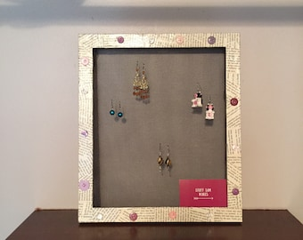 Framed Earring Holder, Wall Mount Jewelry Organizer, Hanging Earring Display, Up-cycled decoupage frame, Book Lover's Jewelry Holder