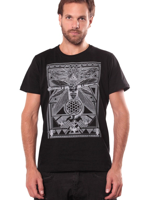Men's Allover Print Owl Animals T-shirt in Grey - Soft Quality Tee - Festival Shirt - Tattoo Style - Street Clothing - Alternative - Tribal upcA7H6Aqs