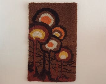 Retro Wall Rug Trees forest vintage art Woods trees decorative dress thread decoration tapestry from the Seventies