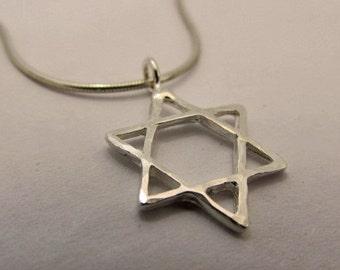 Star of David pendant, silver 925, silver necklace, silver pendant, Magen david, bar mitzvah gift, bat mitzvah gift, silver star