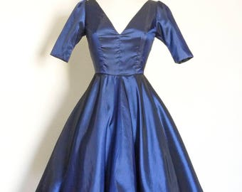 Midnight Blue Taffeta Darted V- Neck Bodice Swing Dress - with sleeves - Made by Dig For Victory