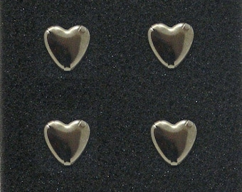 Set nails pins for clothing heart silver 10 mm