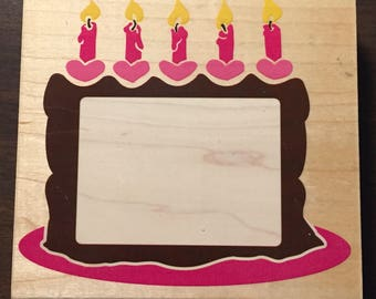 Posh Impressions Birthday Cake Frame Large Rubber Stamp by Rubber Stampede Party Candles