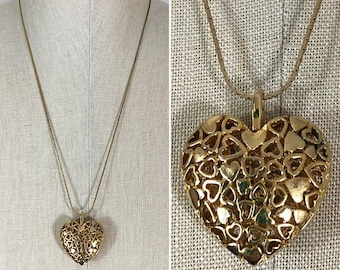 30% Off Sale 80s Gold 3-D Heart Long Chain Pendant Necklace