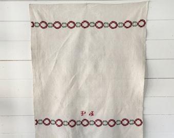 Christmas Patterned Tea towel Linen with 'FJ' Monogram