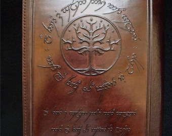 A5 Handmade Refillable Leather Journal - Tree of Gondor from Tolkien's Lord of the Rings